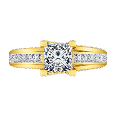 Pave Princess Cut Engagement Ring Isabella 14K Yellow Gold engagement rings imaginediamonds