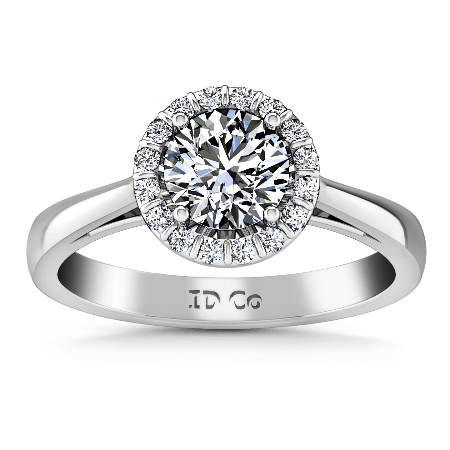 Round Diamond Halo Engagement Ring Soleil 14K White Gold – FrostNYC