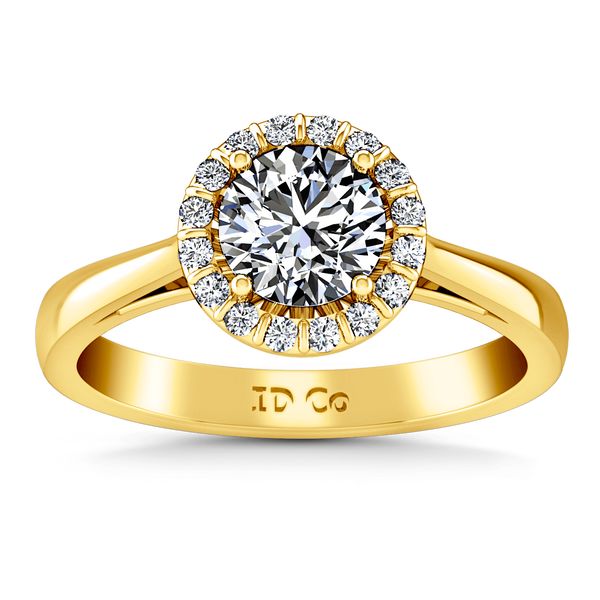 Halo Diamond Engagement Ring Soleil 14K Yellow Gold