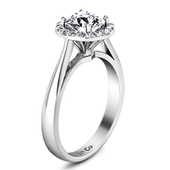 Round Diamond Halo Engagement Ring Soleil 14K White Gold engagement rings imaginediamonds