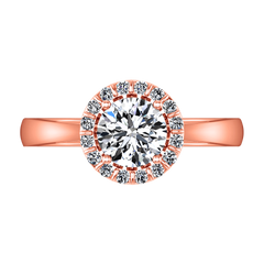 Halo Diamond Engagement Ring Soleil 14K Rose Gold