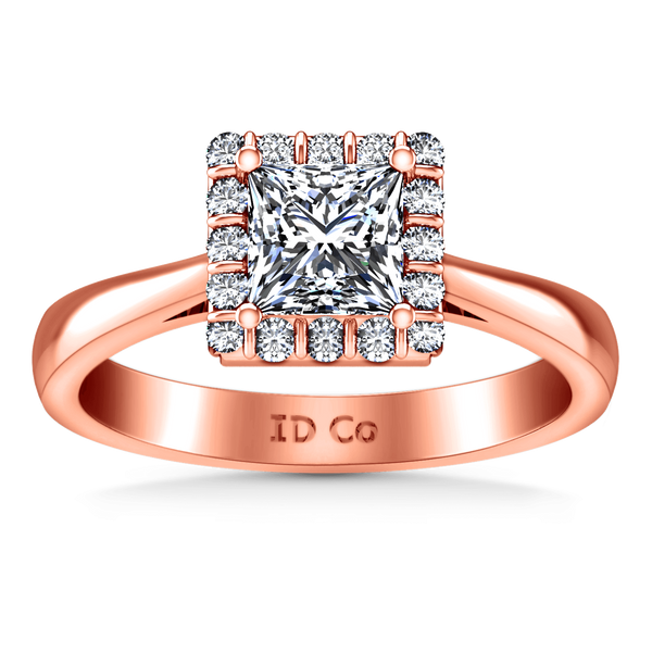 Halo Diamond Princess Cut Engagement Ring Lumiere 14K Rose Gold