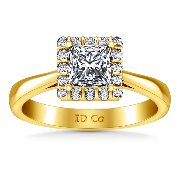 Halo Diamond Princess Cut Engagement Ring Lumiere 14K Yellow Gold