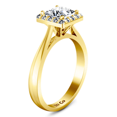 Halo Diamond Princess Cut Engagement Ring Lumiere 14K Yellow Gold engagement rings imaginediamonds