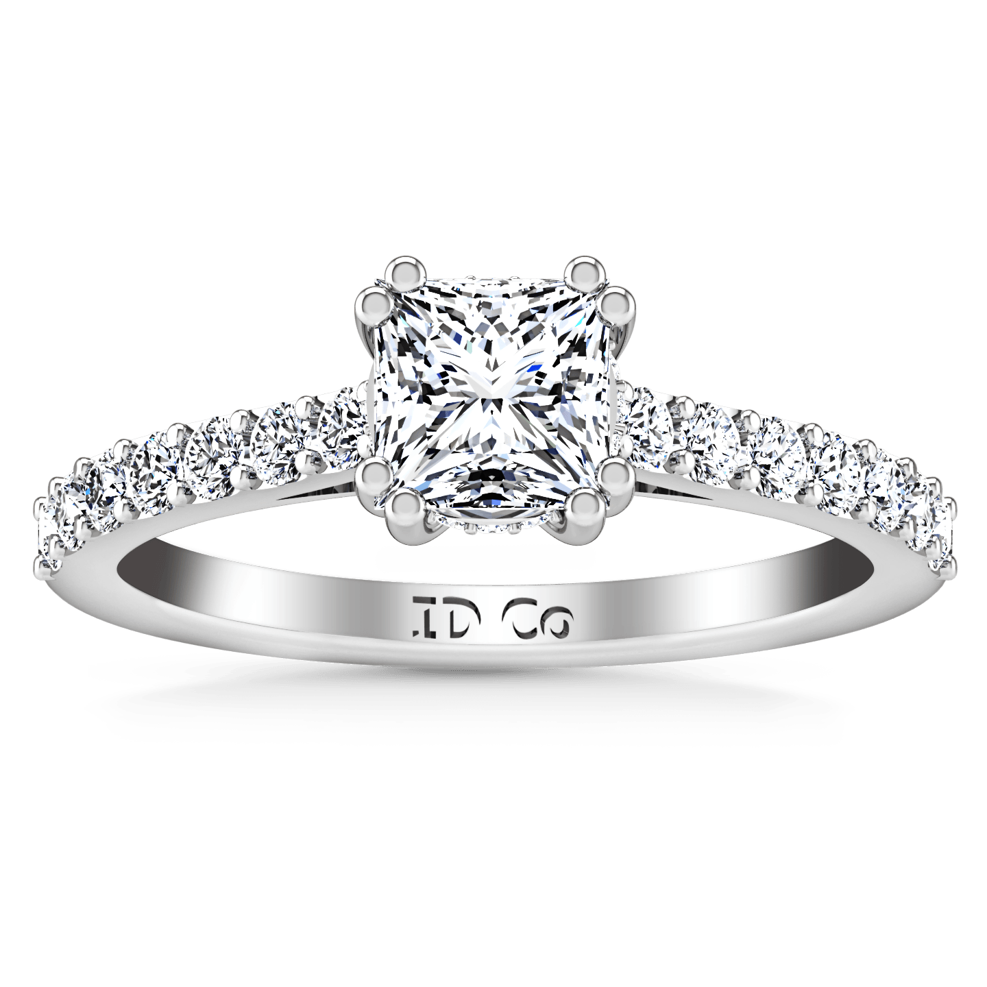 Pave Princess Cut Diamond Engagement Ring Jasmine 14K White Gold