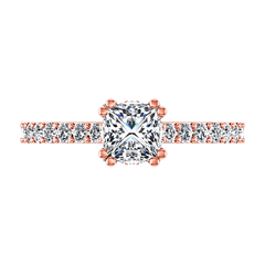 Pave Diamond Princess Cut Engagement Ring Jasmine 14K Rose Gold engagement rings imaginediamonds