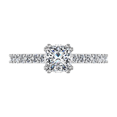 Pave Princess Cut Diamond Engagement Ring Jasmine 14K White Gold engagement rings imaginediamonds