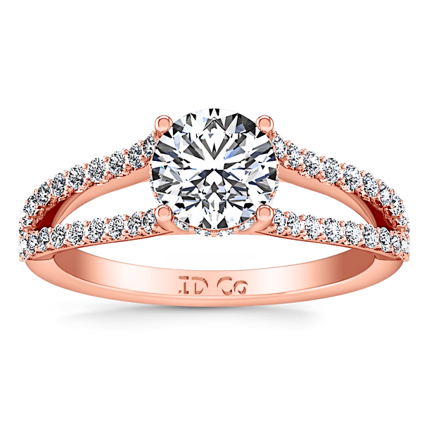 Pave Diamond Engagement Ring Fantasia 14K Rose Gold