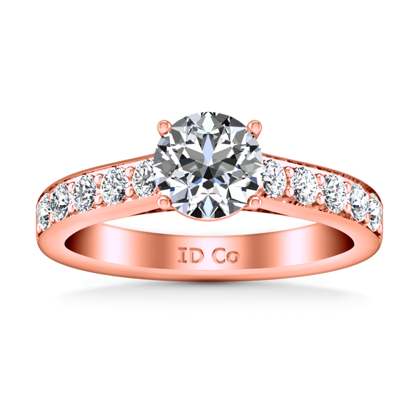 Pave Diamond Engagement Ring Allure 14K Rose Gold