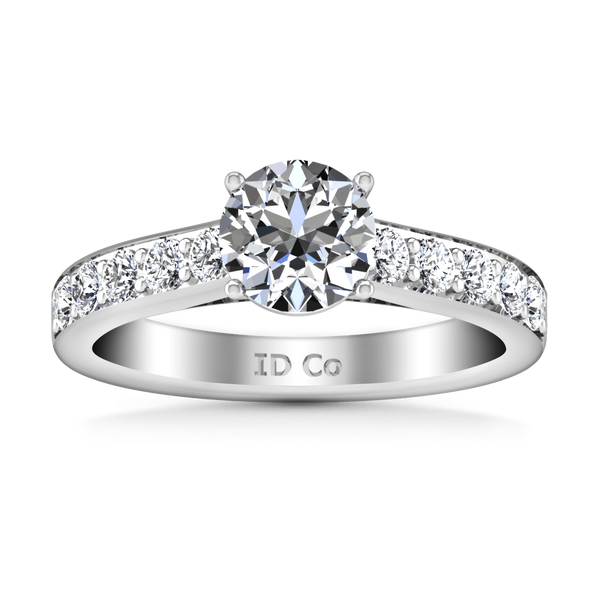 Round Diamond Pave Engagement Ring Allure 14K White Gold