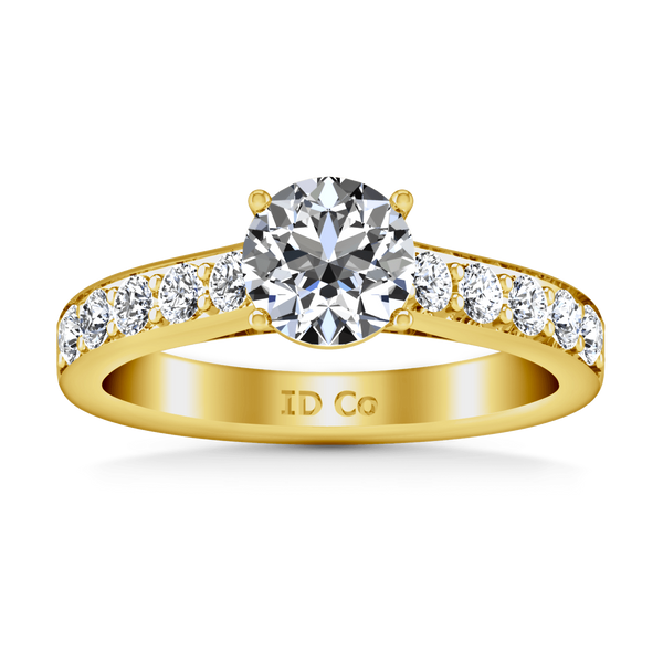 Pave Diamond EngagementRing Allure 14K Yellow Gold