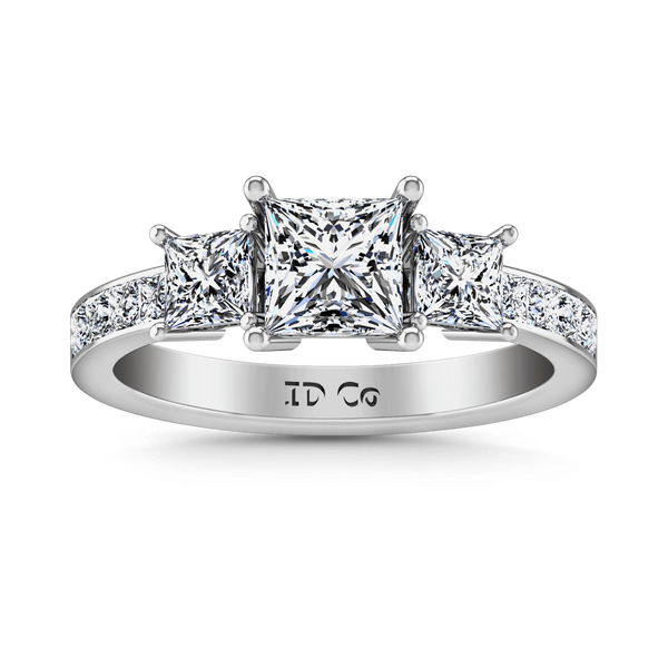 Three Stone Princess Cut Diamond Engagement Ring Rebecca 14K White Gold