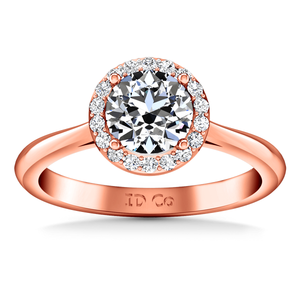 Halo Diamond  Engagement Ring Etoile 14K Rose Gold