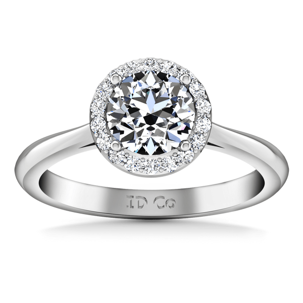 Round Diamond Halo  Engagement Ring Etoile 14K White Gold