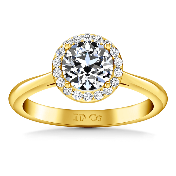 Halo Diamond  Engagement Ring Etoile 14K Yellow Gold