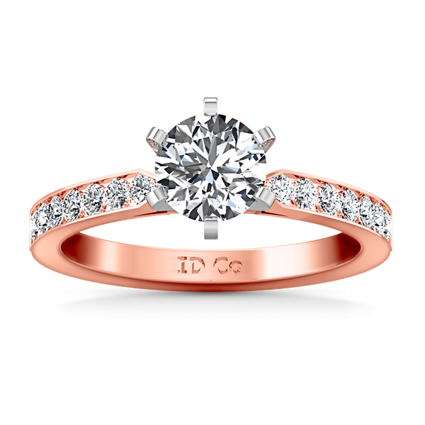 Pave Diamond Engagement Ring Bianca 14K Rose Gold