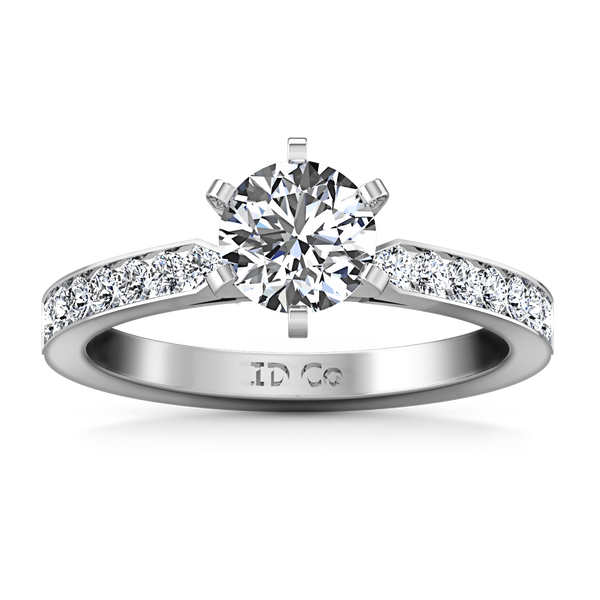 Round Diamond Pave Engagement Ring Bianca 14K White Gold