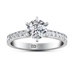 Round Diamond Pave Engagement Ring Yvonne 14K White Gold engagement rings imaginediamonds
