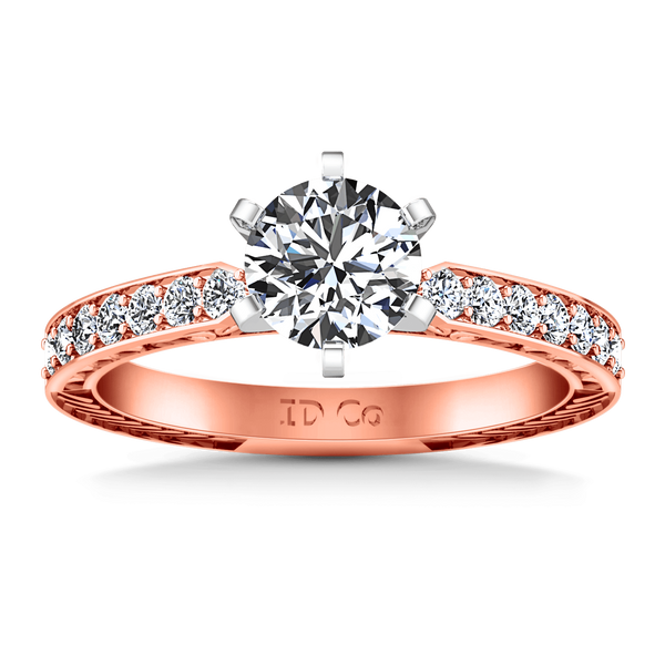 Pave Diamond Engagement Ring Arabesque 14K Rose Gold