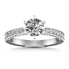 Round Diamond Pave Engagement Ring Arabesque 14K White Gold