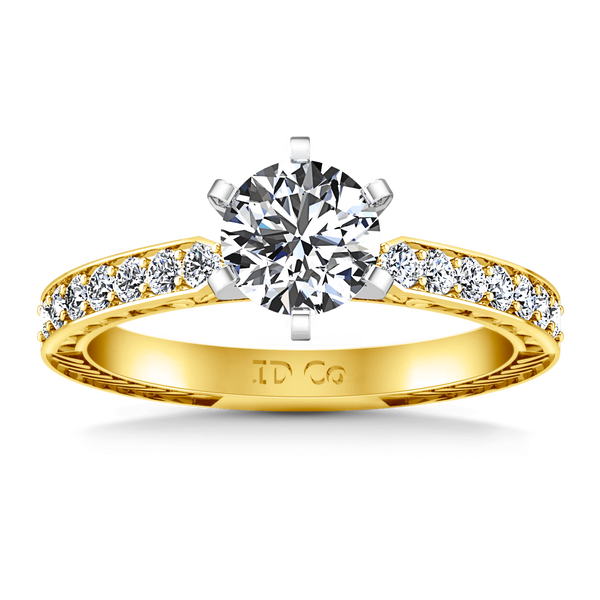 Pave Diamond EngagementRing Arabesque 14K Yellow Gold
