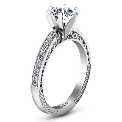 Round Diamond Pave Engagement Ring Arabesque 14K White Gold engagement rings imaginediamonds