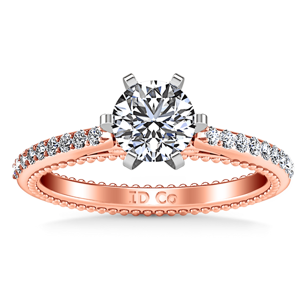 Pave Diamond Engagement Ring Embrace 14K Rose Gold