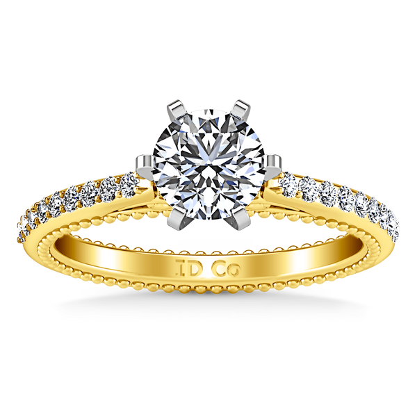 Pave Diamond EngagementRing Embrace 14K Yellow Gold