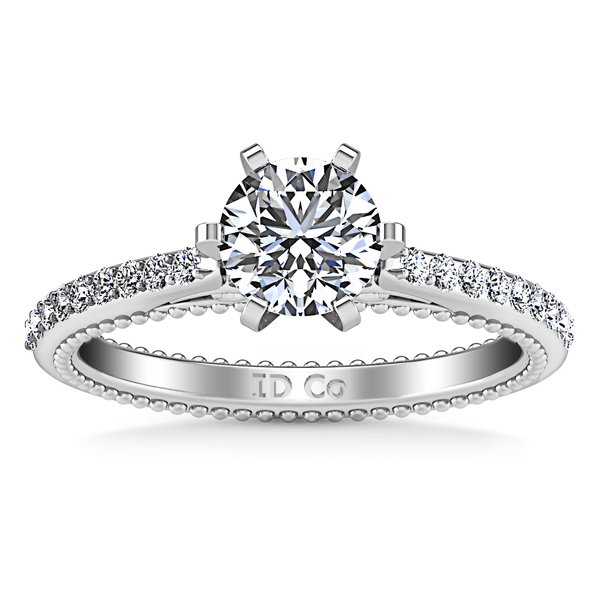 Round Diamond Pave Engagement Ring Embrace 14K White Gold