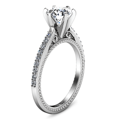 Round Diamond Pave Engagement Ring Embrace 14K White Gold engagement rings imaginediamonds