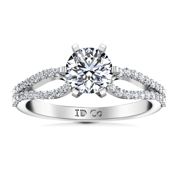 Round Diamond Pave Engagement Ring Tres Jolie 14K White Gold