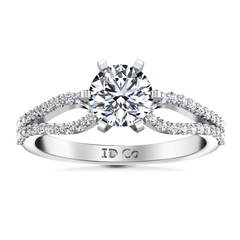 Round Diamond Pave Engagement Ring Tres Jolie 14K White Gold engagement rings imaginediamonds