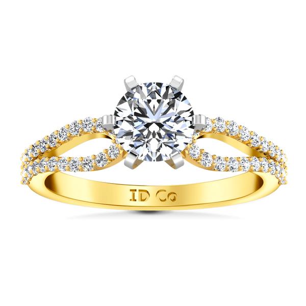 Pave Diamond EngagementRing Tres Jolie 14K Yellow Gold