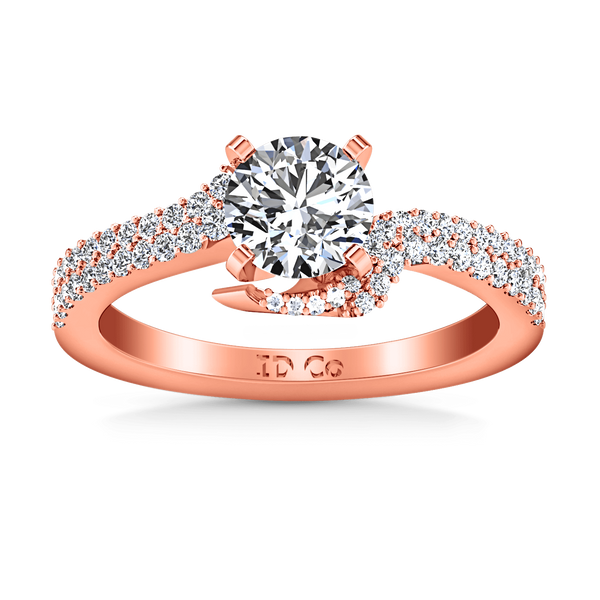 Pave Diamond Engagement Ring Amber 14K Rose Gold