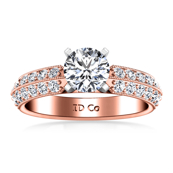 Pave Diamond Engagement Ring Amore 14K Rose Gold