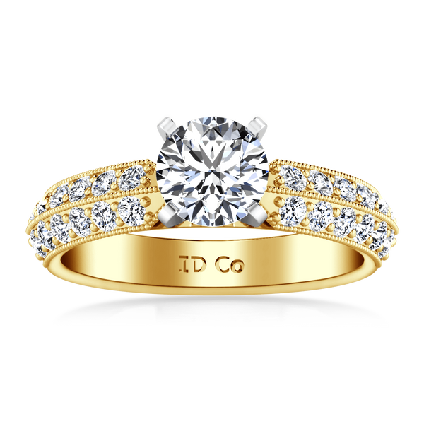 Pave Diamond EngagementRing Amore 14K Yellow Gold