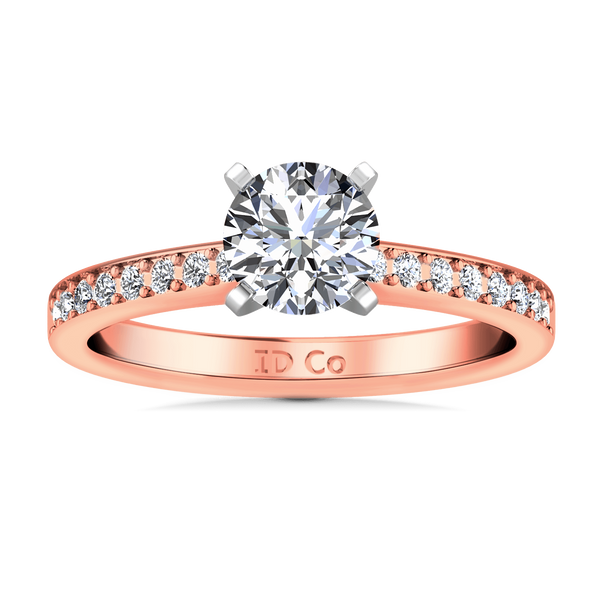 Pave Diamond Engagement Ring Belle 14K Rose Gold