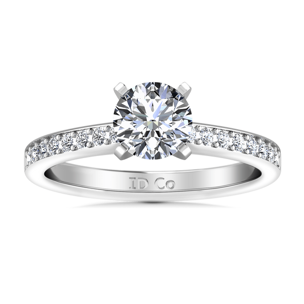Round Diamond Pave Engagement Ring Belle 14K White Gold