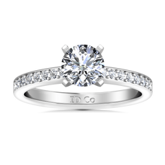 Round Diamond Pave Engagement Ring Belle 14K White Gold engagement rings imaginediamonds