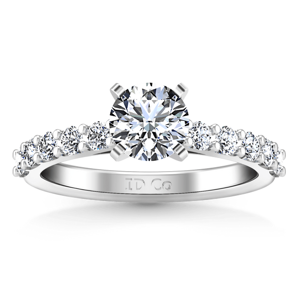 Round Diamond Pave Engagement Ring Cherish 14K White Gold