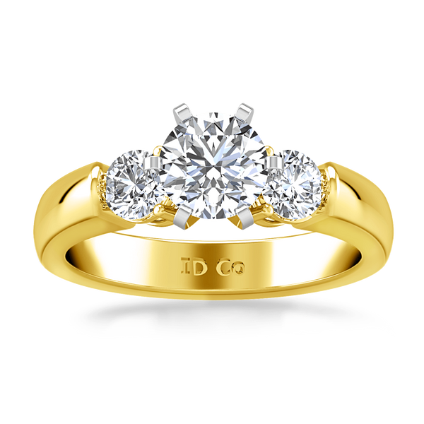 Three Stone Diamond Engagement Ring Justine 14K Yellow Gold