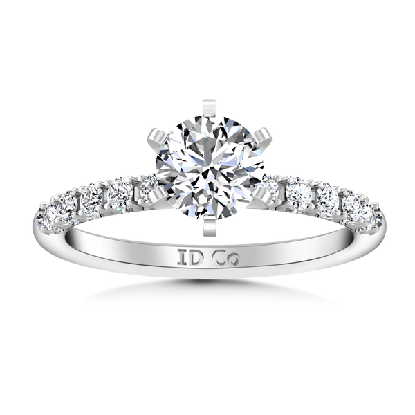 Round Diamond Pave Engagement Ring Grace 14K White Gold