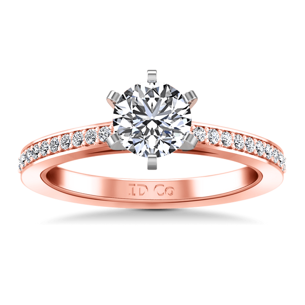 Pave Diamond Engagement Ring Ashley 14K Rose Gold