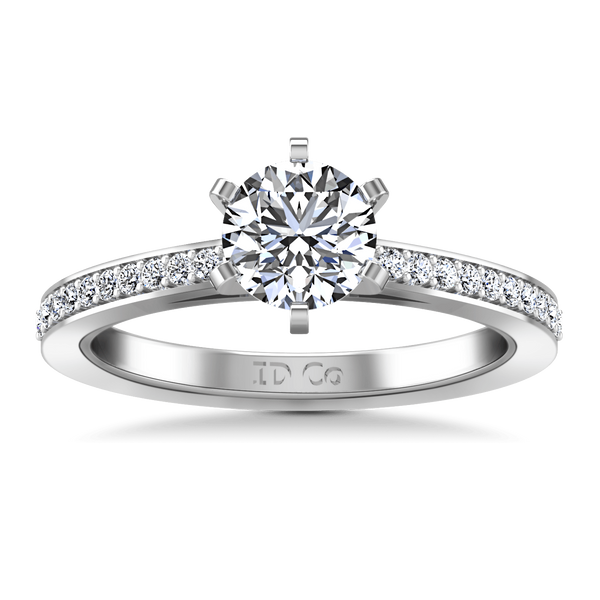 Round Diamond Pave Engagement Ring Ashley 14K White Gold