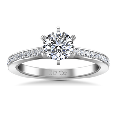 Round Diamond Pave Engagement Ring Ashley 14K White Gold engagement rings imaginediamonds