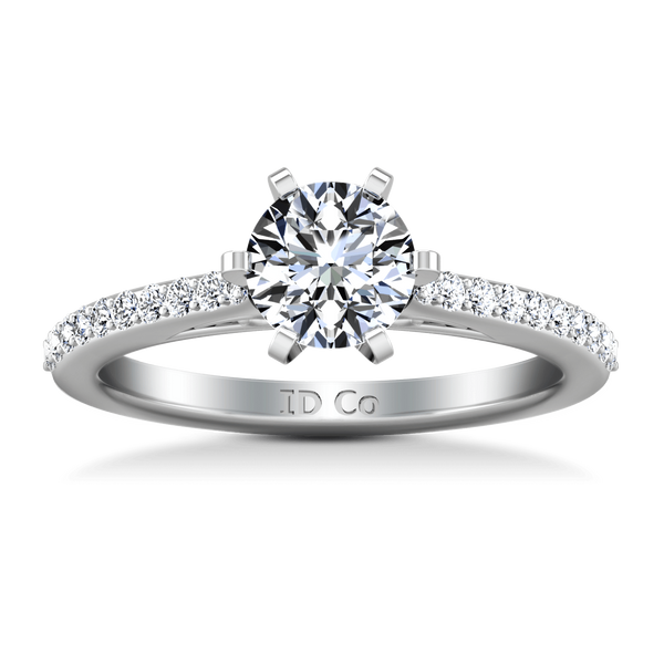Round Diamond Pave Engagement Ring Juliette 14K White Gold