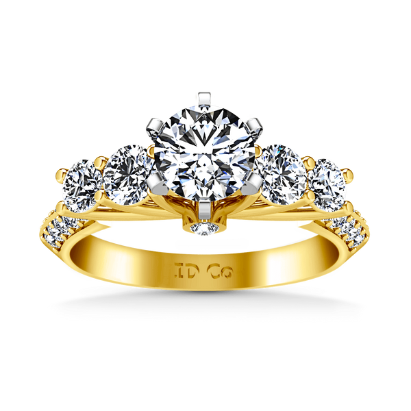 Pave Diamond EngagementRing Regal 14K Yellow Gold