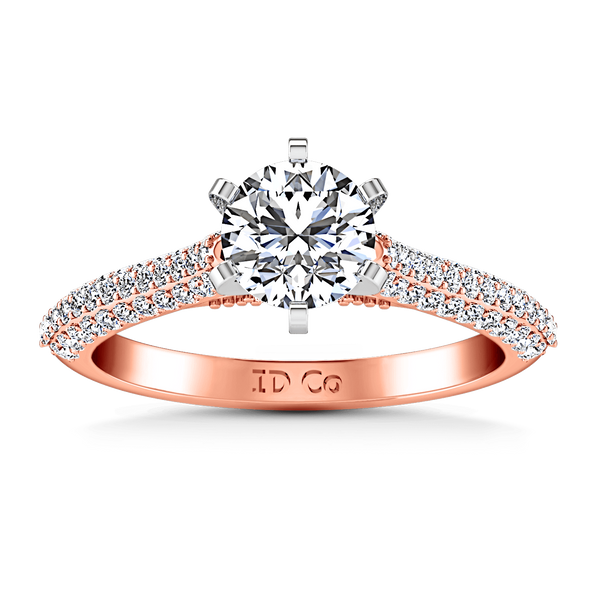 Pave Diamond Engagement Ring Royal 14K Rose Gold