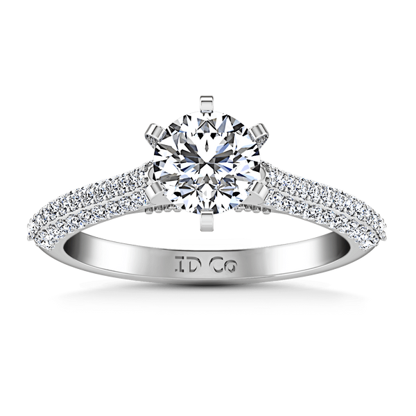 Pave Round Diamond Engagement Ring Royal 14K White Gold
