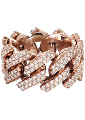 14K Rose Gold Diamond Cuban Link Ring | 20 Grams | 4.00 Carats MEN'S RINGS FROST NYC